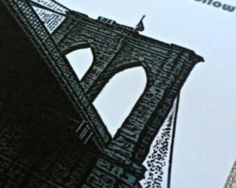 NYC Brooklyn Bridge Invitation - New York City Wedding Save the Date