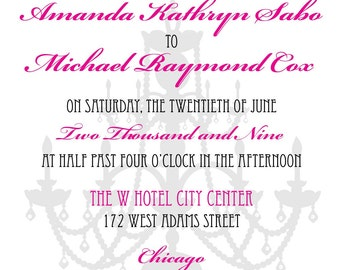 Wedding save the date or Invitation with Chandelier background