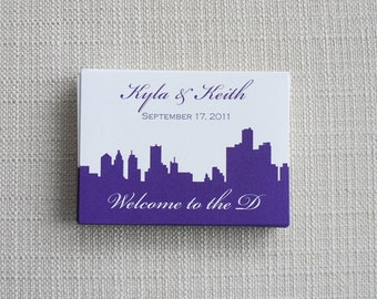 Wedding Stickers Labels -- Set of 50 Wedding Stickers with City Skyline