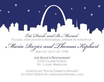 St Louis Save the Date or Invitation - Saint Louis Skyline Silhouette