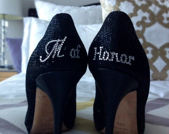 Maid of Honor shoe sticker Gift – Rhinestone Crystal Stickers for Back of Wedding Shoes