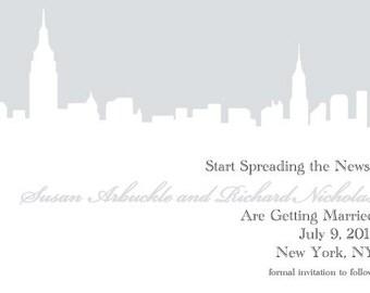 New York City NYC Skyline Wedding Save the Dates / Invitations -- Customizable