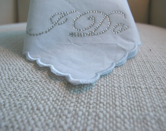 Wedding Handkerchief with Crystal I DO in Silver
