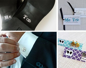 Grooms Cuff Links Special Package with Me Too Sticker and I Do Cuff Links - Perfect Gift for the Groom