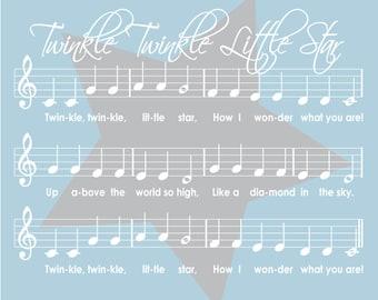 Twinkle Twinkle Little Star sheet music 8x10 Nursery Art Print