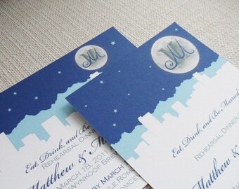 Denver Wedding Save the Date or Invitation-  Mountain Skyline Silhouette