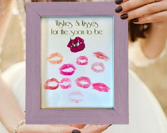 """Bridal Shower Guest Book Alternative """"Wishes & Kisses"""""""