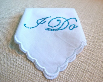 Wedding Bridal Hankie with Crystal I DO  for your Something Blue