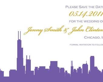 Wedding Save the Date or Invitation with Chicago Skyline