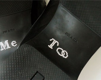 Grooms Me Too Crystal Wedding Shoe Stickers with Wedding Band Design in Silver