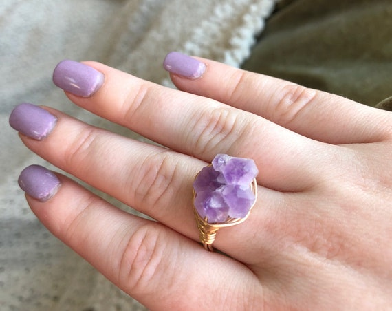 Amethyst Cluster Wire Ring