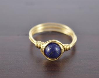Lapis Lazuli Wire Ring