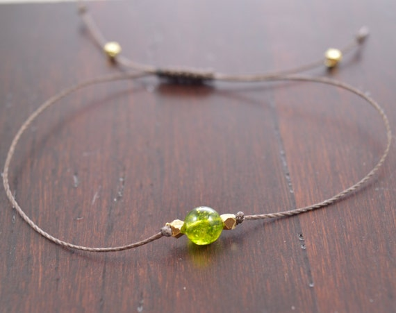 Peridot Bracelet, peridot august birthstone, wish bracelet, best friend gift, minimalist jewelry, best friend bracelet, beaded bracelet