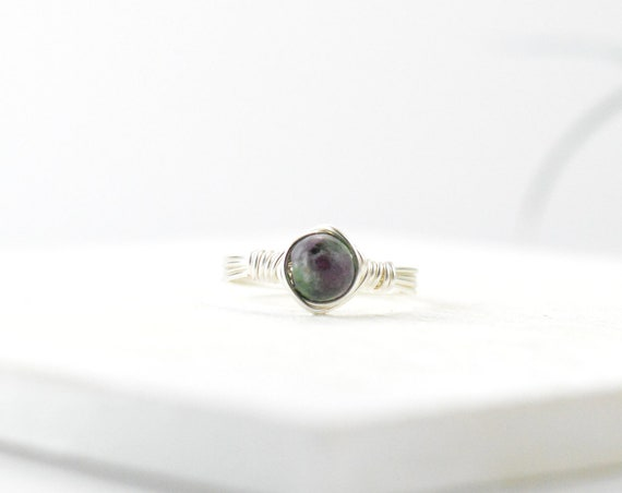 Ruby Zoisite Wire Gemstone Ring, Crystal Ring, Sterling Silver Ring, Gold Filled Ring, Rose Gold ring, Gemstone Ring, Wire Wrapped Ring