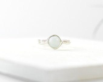 Amazonite Ring, Amazonite Wire Ring, Natural Gemstone Ring, Amazonite, Amazonite Jewelry, Gemstone Stacking Ring, Real Gemstone, Gift