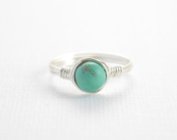 Turquoise Wire Wrapped Ring, Birthstone Ring, December Birthstone, Birthstone, Girlfriend, Stacking Ring, Turquoise Jewelry