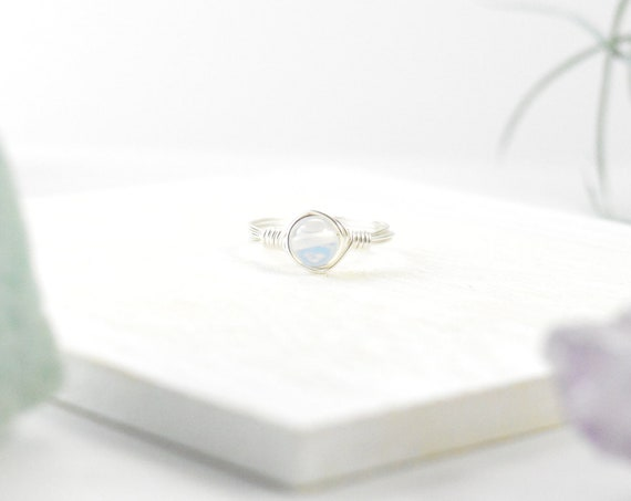 Opal Wire Gemstone Ring, October Birthstone Ring, Opalite Crystal Ring, Silver, Gold, Rose Gold Ring, Birthstone, Wire Ring, Stacking Ring