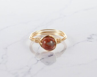 Red Jasper Ring, Crystal Ring, Sterling Silver Ring, White Crystal Ring, Natural Ring, Raw Crystal Ring, Gemstone Ring