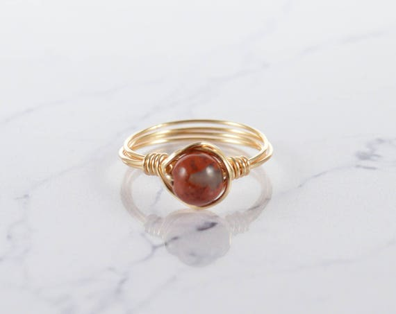 Red Jasper Ring, Crystal Ring, Sterling Silver Ring, White Crystal Ring, Natural Ring, Raw Crystal Ring, Gemstone Ring