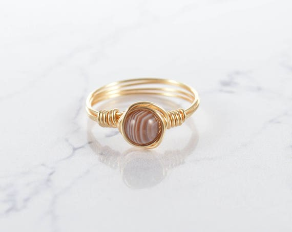 Natural Agate Gemstone Ring