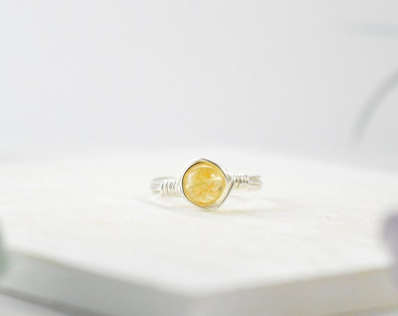 Citrine Ring, Citrine Wire Ring