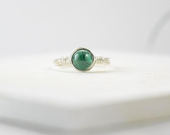 Malachite Ring, Gemstone Ring, Sterling Silver Ring, Green Gemstone Ring, Natural Ring, Green Ring, Gemstone Ring
