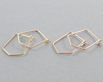 Pentagon Hoops, Small Geometric Hoop Earrings, Gold, Silver, Or Rose Gold Earrings