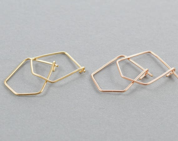 Pentagon Hoops, Small Geometric Hoop Earrings, Gold, Silver, Or Rose Gold Earrings