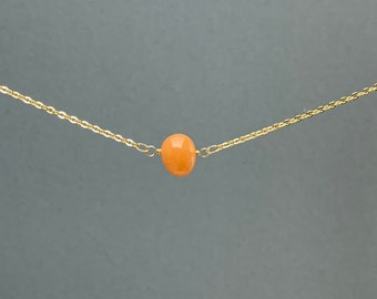 Polished Raw Orange Carnelian Agate Gemstone Necklace, Natural Stone Gift, Crystal Necklace, Natural Stone Pendant, Bridesmaids Gift