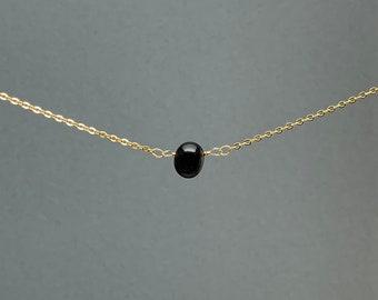 Polished Raw Black Onyx Gemstone Necklace, Natural Stone Gift, Crystal Necklace, Natural Stone Pendant, Bridesmaids Gift