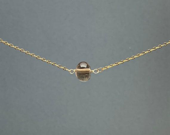 Polished Raw Smokey Quartz Necklace, November Birthstone, Natural Stone Gift, Crystal Necklace, Natural Stone Pendant, Bridesmaids Gift