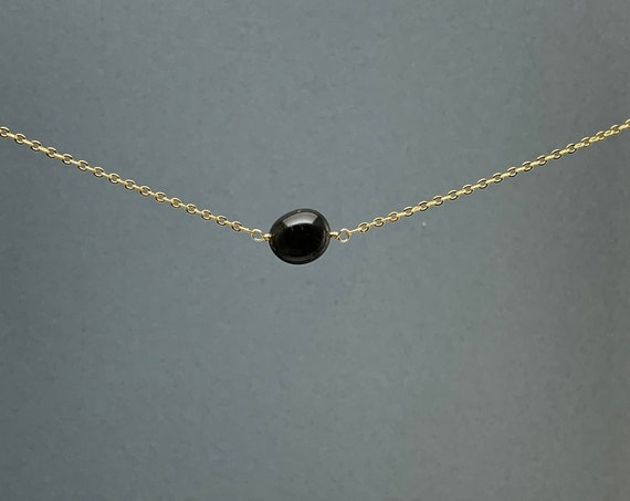 Polished Raw Black Spinel Gemstone Necklace, Natural Stone Gift, Crystal Necklace, Natural Stone Pendant, Bridesmaids Gift