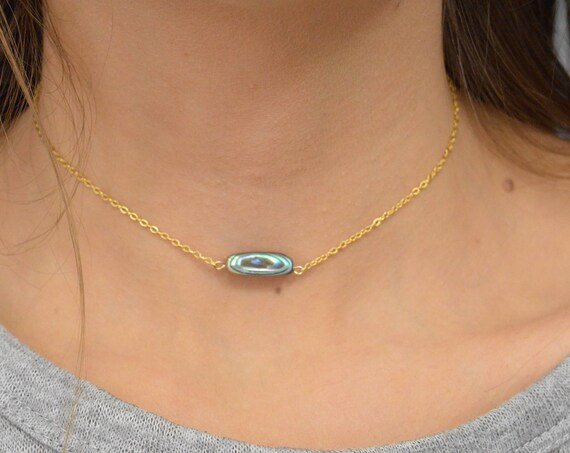 Abalone Necklace, Paua Shell Pendant, Abalone Jewelry, Seashell Necklace, 14k Gold FIlled, Rose Gold Filled, or Sterling Silver Necklace