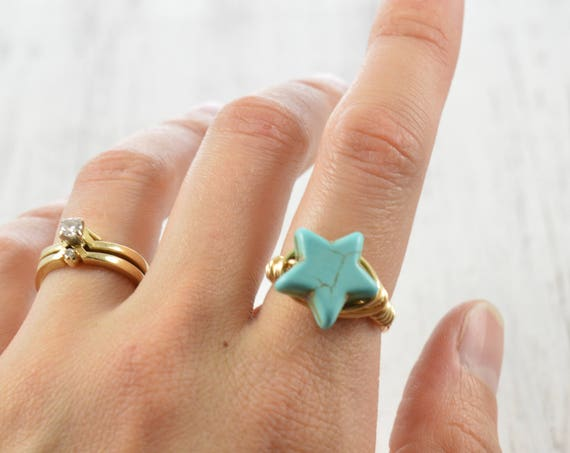 Star Turquoise Howlite Wire Ring
