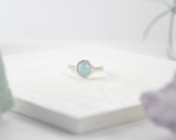 Aquamarine Wire Ring, Aquamarine Stone, March Birthstone, March Birthday, Boho Ring, Minimal Ring, Wire Wrapped Jewlery, Ice Blue Aquamarine