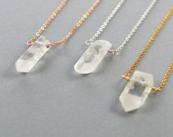 Natural Raw Quartz Crystal Necklace, Quartz Crystal, Clear Quartz Crystal Necklace, Quartz Crystal Pendant, Clear Quartz Pendant, Quartz