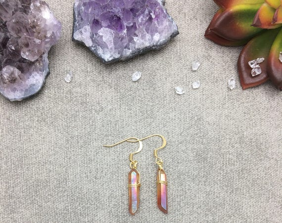 Orange Aura Quartz Crystal Point Earrings, Quartz Crystal Point Earrings,, Raw Crystal Earrings