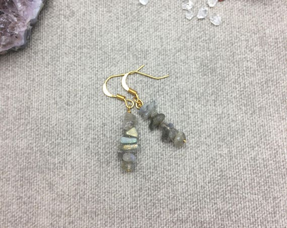 Labradorite Chip Drop Earrings