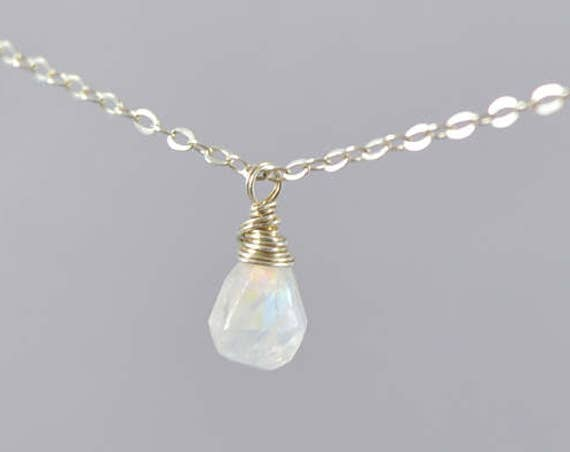 Rainbow Moonstone Teardrop Pendant Necklace