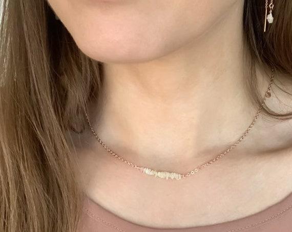 Opal Bar Necklace, Ethiopian Opal Necklace, October Birthstone, Bar Necklace, Dainty Opal Necklace, Dainty Necklace, Gemstone Necklace