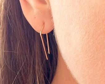 Triangle Threader Earrings, Minimal Earrings, Minimalist Earrings, Gold Hoop Earrings, Rose Gold Threader, Threader Earrings, Threader Hoops