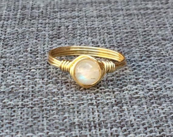 Rainbow Moonstone Wire Ring