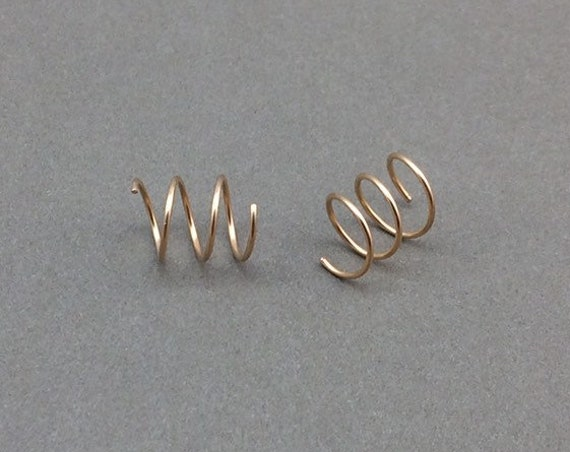 Spiral Earrings, Triple Piercing Earrings, Rose Gold Earrings, Gold Filled Earrings, Spiral Hoop Earrings, Spiral Hoops, Minimalist Earrings