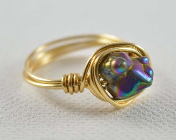 Rainbow Titanium Raw Stone Ring
