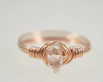 Herkimer Diamond Wire Gemstone Ring, Herkimer Diamond Ring, April Birthstone Ring, Raw Herkimer Diamond Ring, Herkimer Gemstone Mineral
