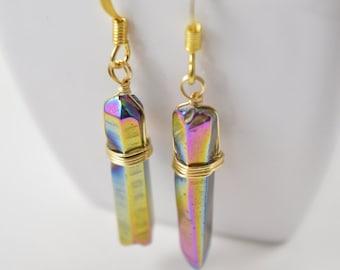 Rainbow Titanium Quartz Crystal Point Earrings, Quartz Crystal Point Earrings, Raw Crystal Earrings,