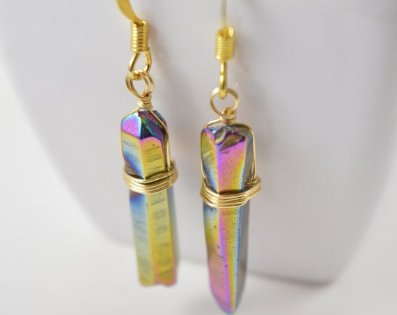 Rainbow Titanium Quartz Crystal Point Earrings