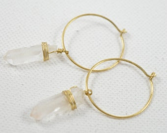 Quartz Raw Crystal Wire Wrapped Hoop Earrings Raw Quartz Point Earrings Rustic Clear Raw Quartz Crystal Point Rose Gold Filled Hoop Earrings