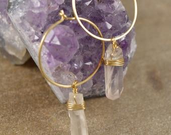 Raw Quartz Crystal Wire Wrapped Hoops, Quartz Crystal, Hoop Earrings, Raw Quartz Point Earrings