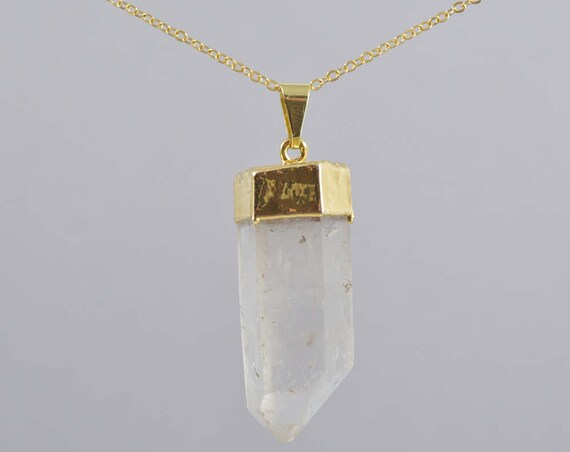 Large Quartz Point Pendant Necklace in Gold or Silver